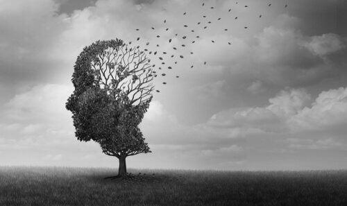 Träd i form av huvud.
