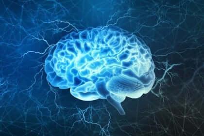 Bild på en blå hjärna