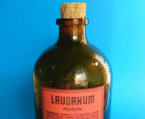 Flaska med laudanum.