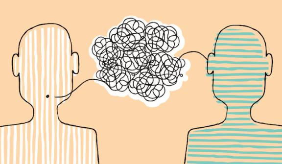 Två figurer som försöker kommunicera.