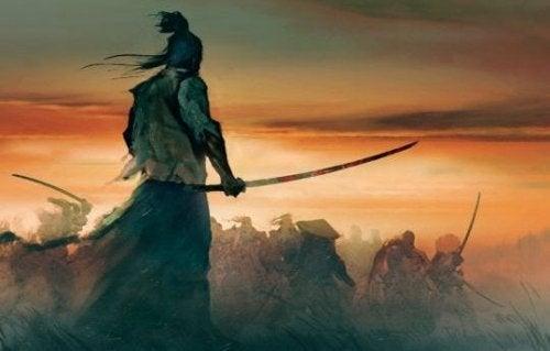 Målning av samuraj.