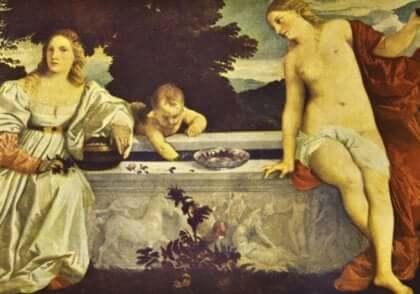 Tizianos målning av helig kärlek.