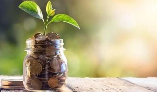 En burk med en växt som växer ur mynt.