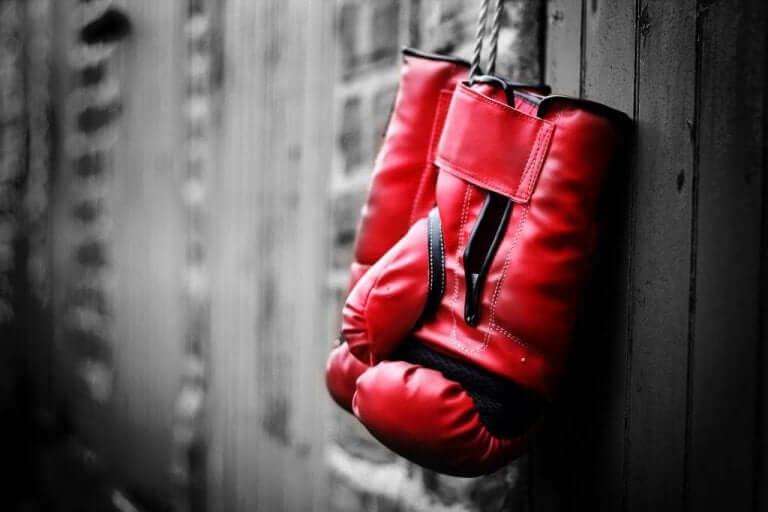 Hängande boxningshandskar.