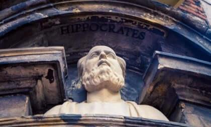 En byst av Hippokrates.