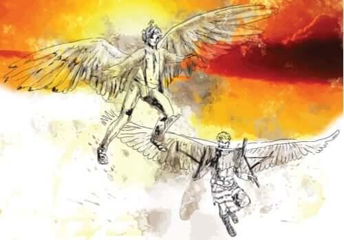 Deadalus, grekiska mytologins stora uppfinnare och Icarus.