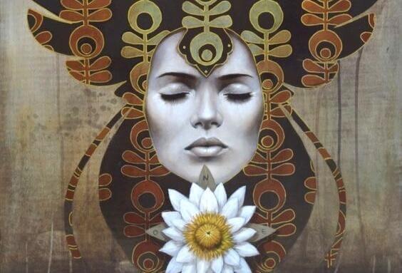 Kvinna och blomma.