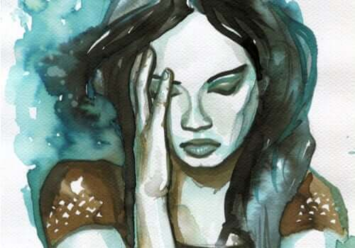 Målning av bedrövad kvinna.