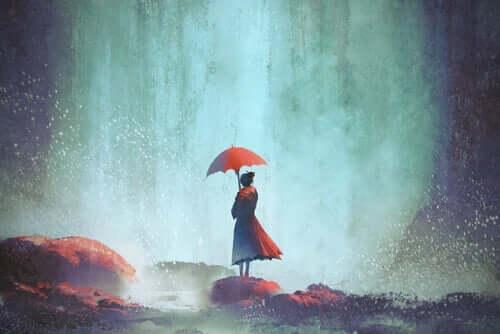 Målning av kvinna med paraply.