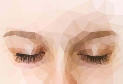 Kvinna med slutna ögon
