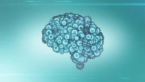 Hjärna med kugghjul.