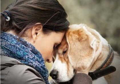 Kvinna och hund.