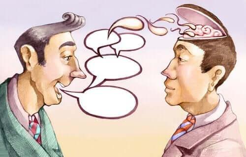 En tecknad bild av en mans ord som påverkar hjärnan på hans samtalspartner.