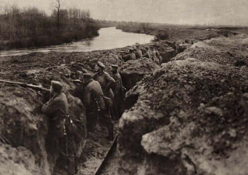 Skyttegrav under det första världskriget.