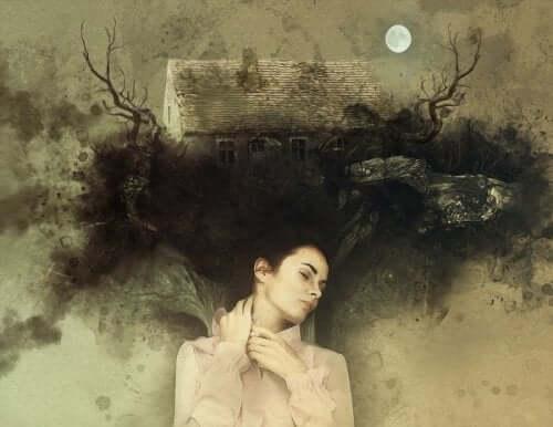 Kvinna som drömmer om hus.
