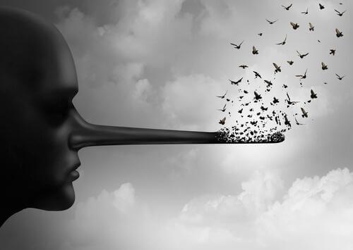 Lång näsa som representerar lögner, en av tre typer av falskhet.