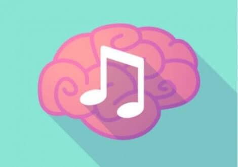En bild av en hjärna med en musikalisk not.