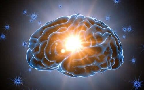 En ritning av hjärnan med ett ljus som kommer från mitten
