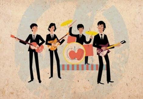 En illustration av Beatles uppträdande.