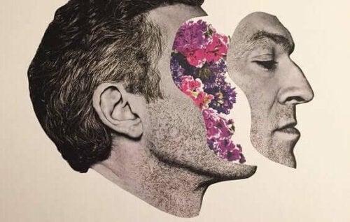 Abstrakt bild av man som tappar ansiktet