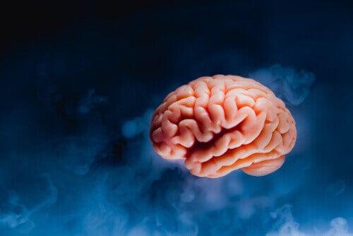 En hjärna med mörk bakgrund