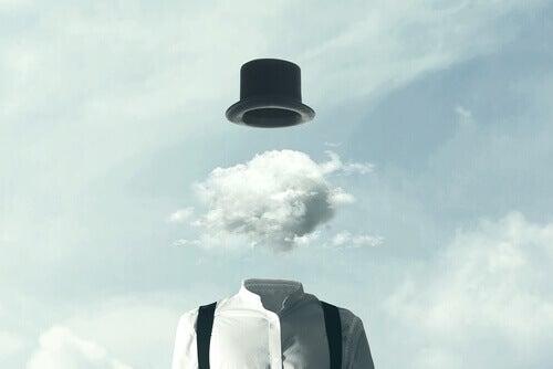 En man med ett moln som ett huvud