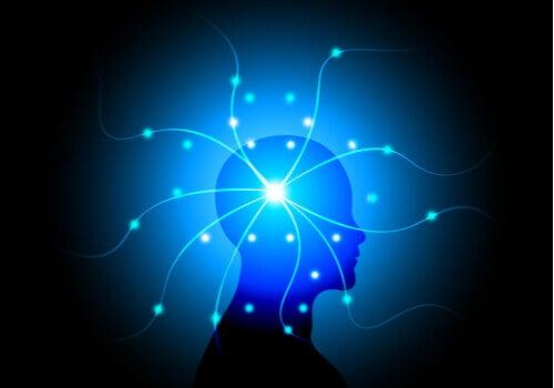 En siluett med ljusslingor som sträcker sig från hjärnan