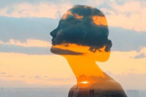 En kvinna med omvärlden reflekterad över henne