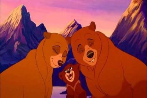 En björnfamilj som symbol för personlig utveckling