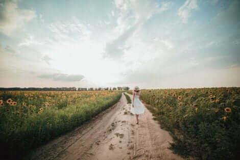 En kvinna som går på en grusväg genom ett solrosfält