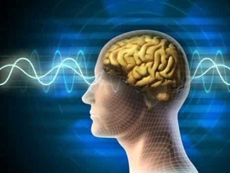 En man med kreativa hjärnvågor