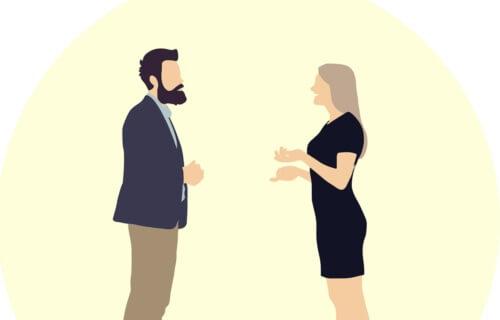 En illustration av två personer som talar
